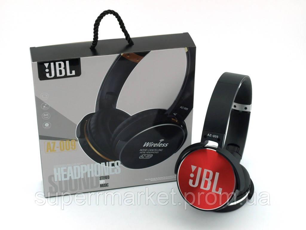 JBL AZ-009 копия, Bluetooth наушники с FM MP3, черные с красным