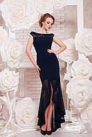 Элегантное вечернее асимметричное темно-синее платье, фото 1