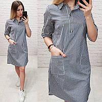 Платье-рубашка, модель 831, цвет - темно синий в полоску