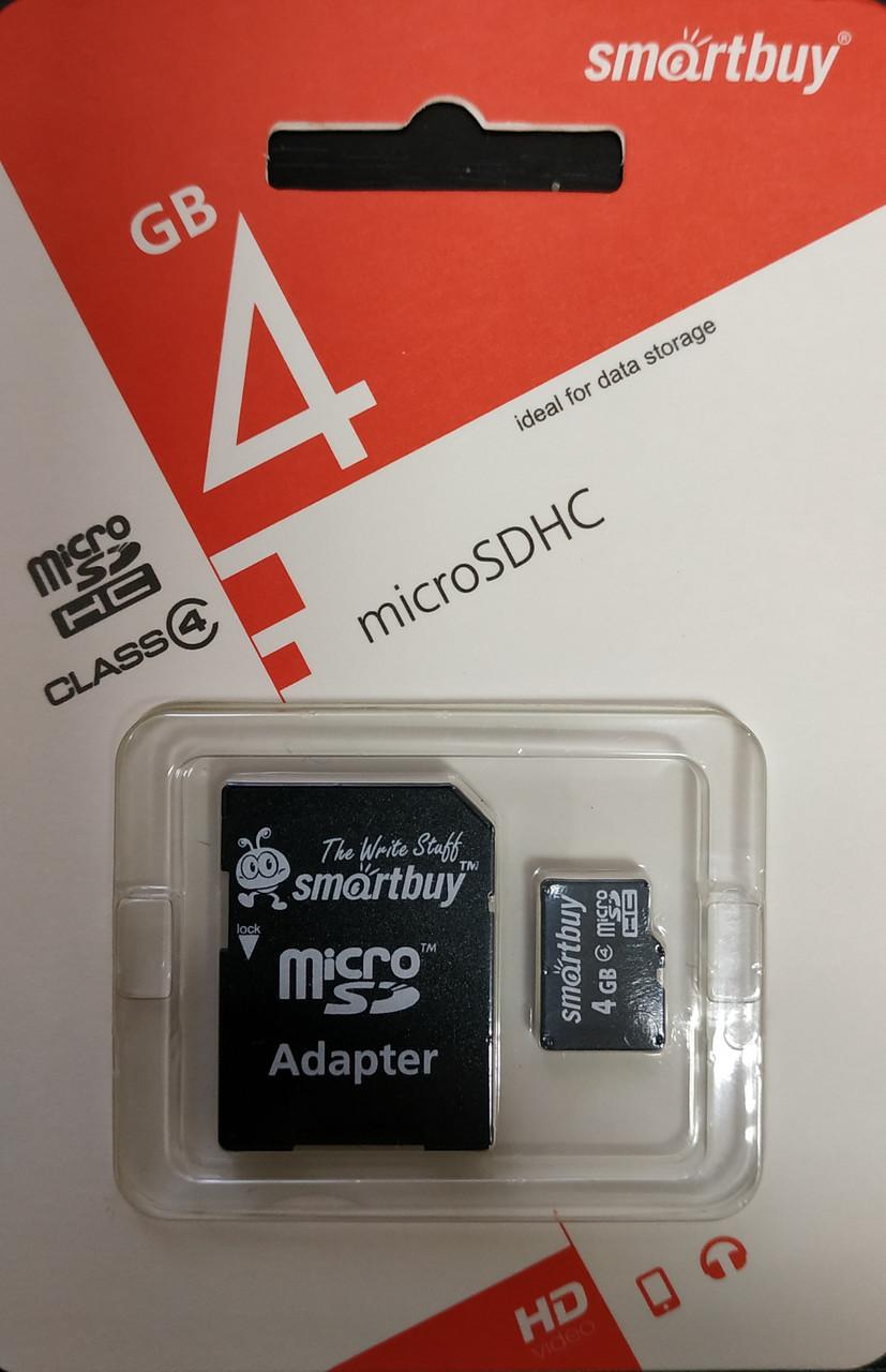 Карта памяти микро SDHC Smartbuy 4 гб класс 4 с адаптером