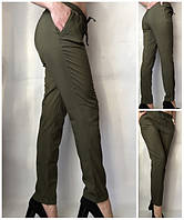 Літні штани жіночі на резинці зі шнурком, штани жіночі літні великих розмірів кольору хакі, фото 1