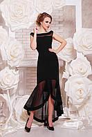 Вечернее черное асимметричное платье с удлиненной спинкой, фото 1