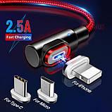 GETIHU кутовий магнітний кабель Lightning швидка зарядка 2.5 А iOS Apple iPhone для зарядки Колір Синій, фото 2