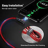 GETIHU кутовий магнітний кабель Lightning швидка зарядка 2.5 А iOS Apple iPhone для зарядки Колір Синій, фото 6