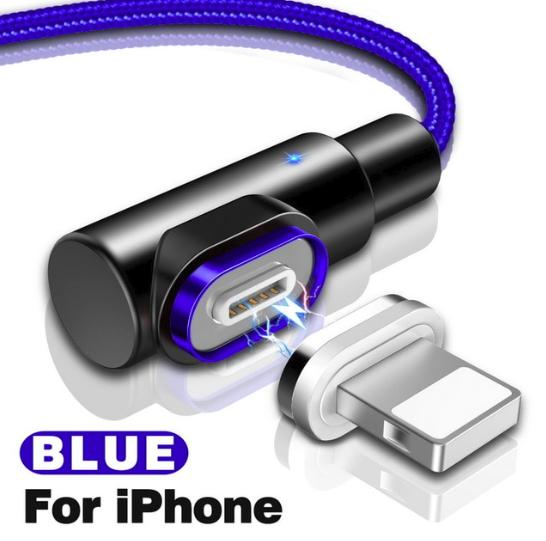 GETIHU кутовий магнітний кабель Lightning швидка зарядка 2.5 А iOS Apple iPhone для зарядки Колір Синій