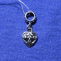 Серебряная бусина-шарм Сердечко 821-ч