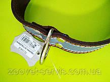 Ошейник кожаный ОО со светоотражающей лентой 3.0\40-50, фото 3