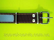 Ошейник кожаный ОО со светоотражающей лентой 3.0\40-50, фото 2