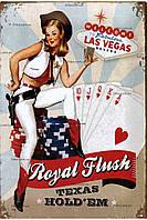 """Металлическая / ретро табличка """"Лас-Вегас Техасский Холдем Покер / Las Vegas Texas Hold'em Poker (Pin Up)"""""""