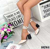 Туфлі жіночі шкіряні з завужені носком і ремінцем навколо щиколотки