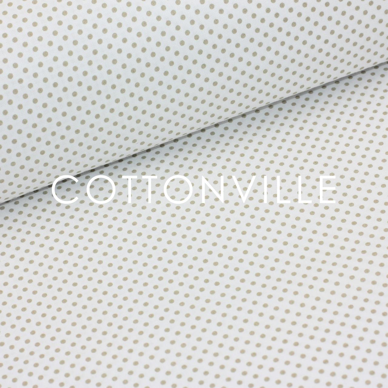 Бязь Горошки 3 мм бежевые на белом