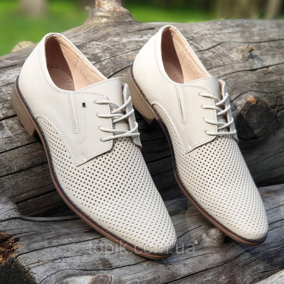 Мужские летние туфли кожаные классические на шнурках в дырочку светлые (Код: 1463а)