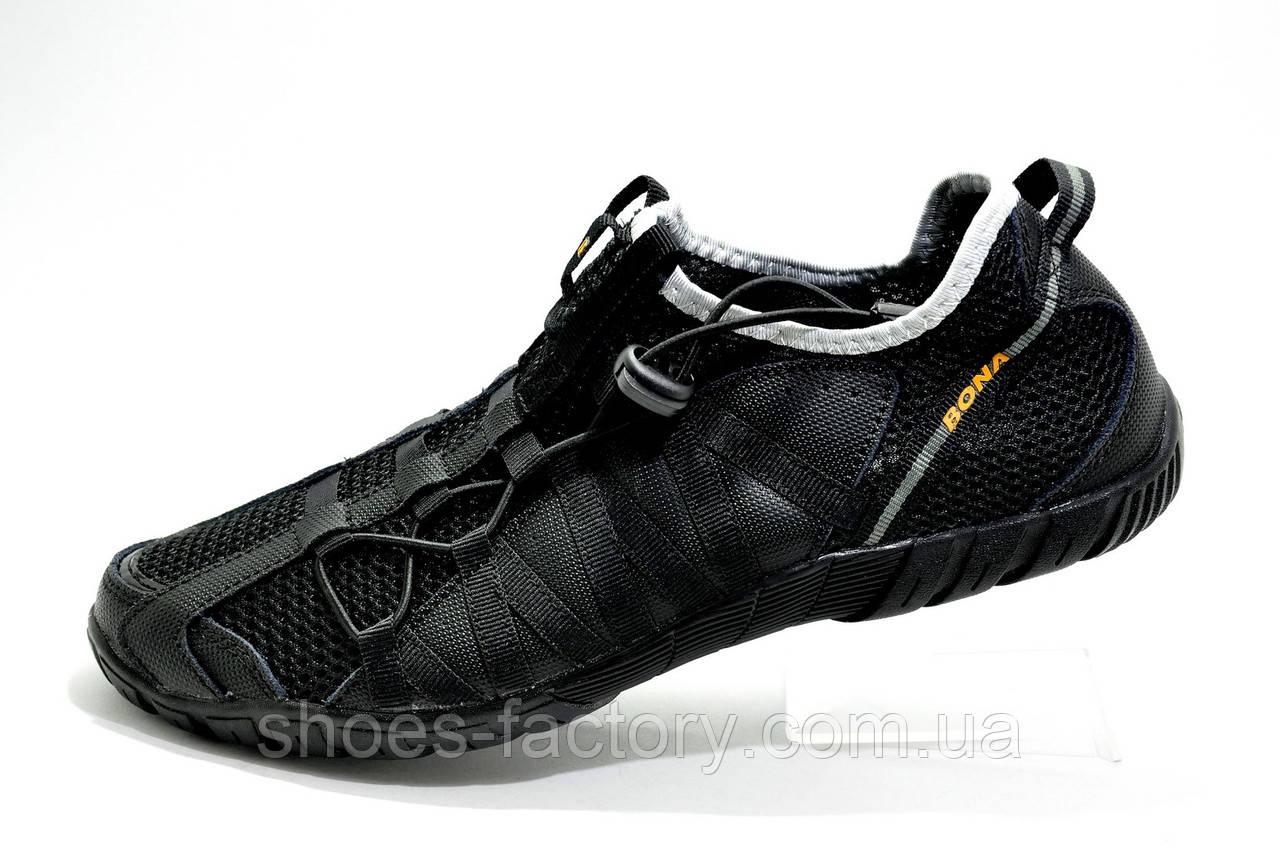 Летние кроссовки в сеточку Bona 2019, Black (Бона) без шнурков