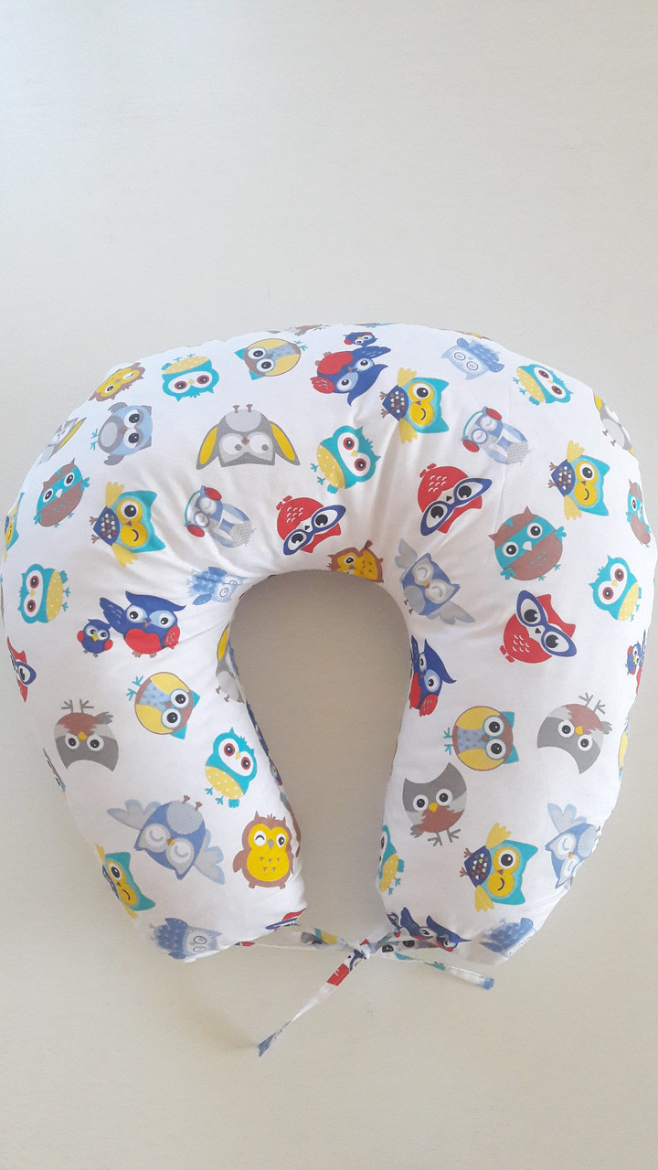 """Подушка для кормления младенца 90/90 """"Цветные совушки"""""""