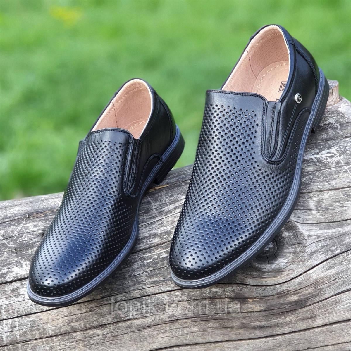 Мужские летние туфли черные кожаные классические без шнурков в дырочку (Код: 1464а)