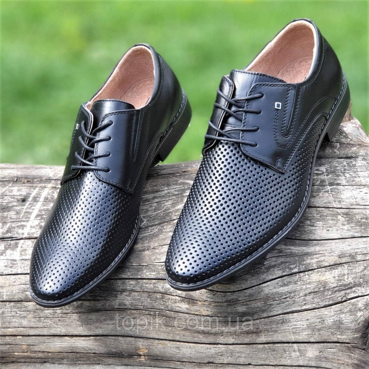Мужские летние туфли черные кожаные классические на шнурках в дырочку (Код: 1466а)