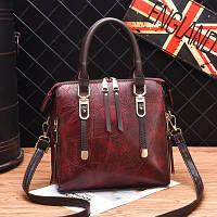 Маленькая женская сумка с боковыми застежками бордовая, фото 1