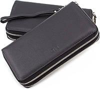 Шкіряний чоловічий гаманець клатч для грошей і документів на дві блискавки MD