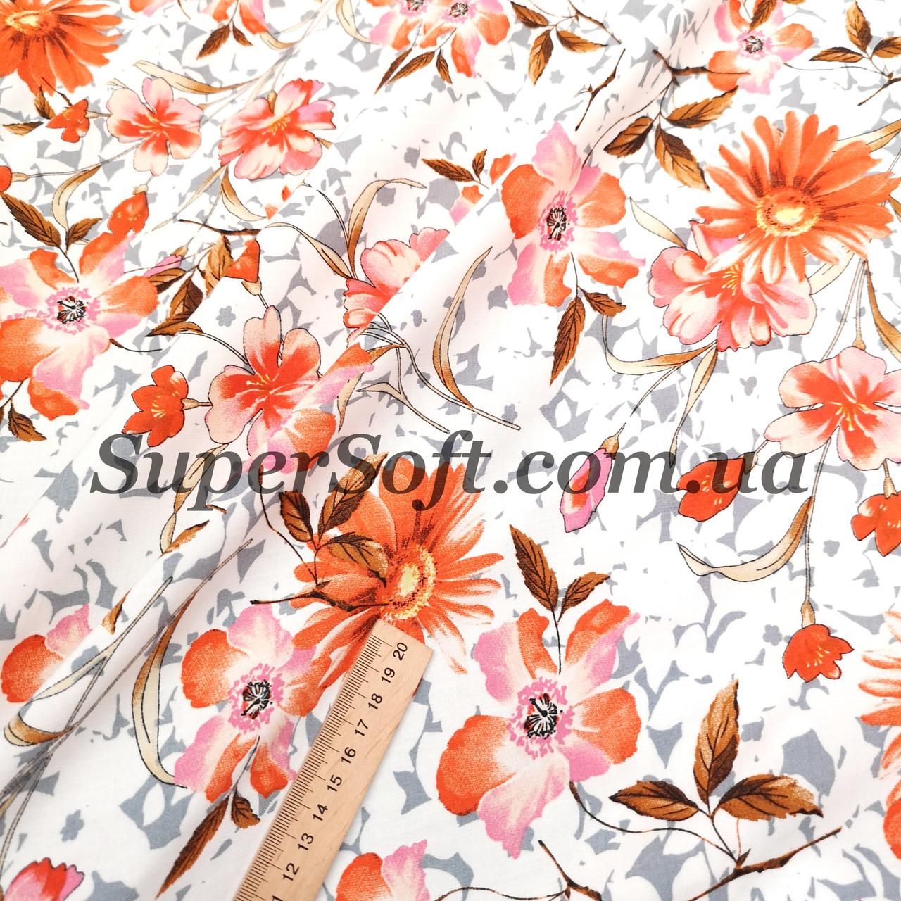 Ткань штапель принт оранжевые цветы