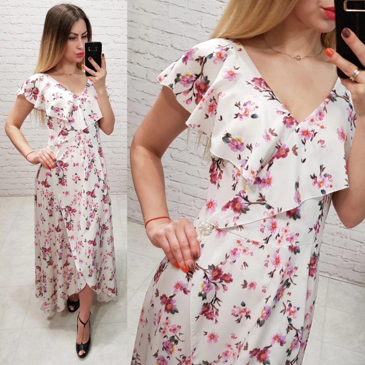 Платье летнее длинное, модель 111, цвет - белый в мелкий розовый цветок