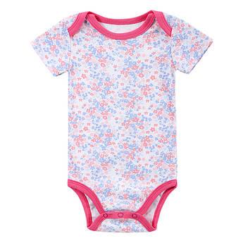 Боди для девочки: Mother Nest - Цветочки. Стильный хлопковый бодик для новорожденной в полоску в розовые цветочки