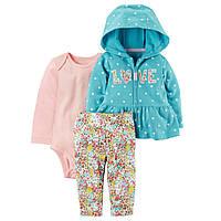 Костюм 3 в 1: Carter's - Love. Голубой костюм для новорожденной девочки с цветочками (штаны, реглан, боди)