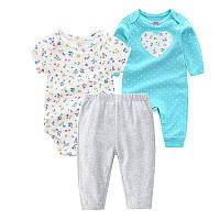 Комплект для девочки 3 в 1: Carter's - Tenderness. Боди с длинным и коротким рукавом, спортивные штаны