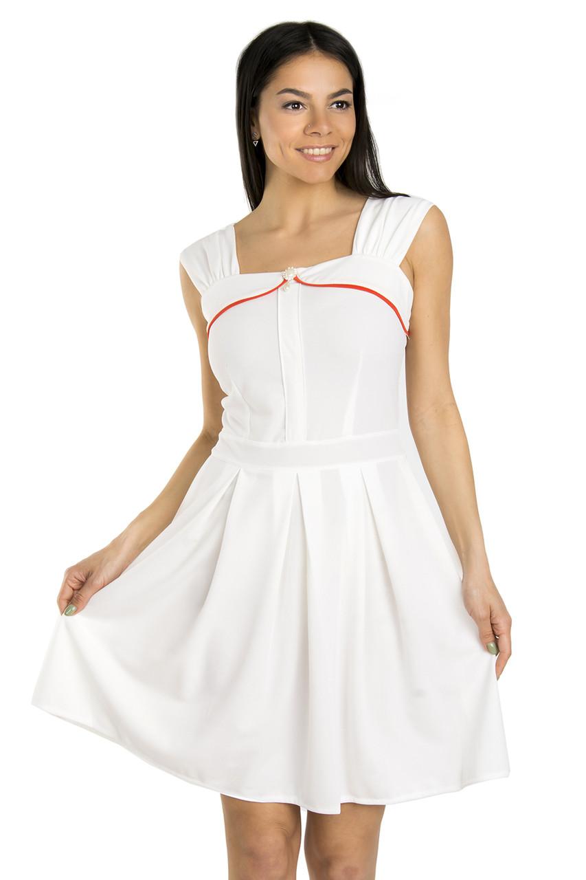 Элегантное женское платье с брошью 42-48 (в расцветках)