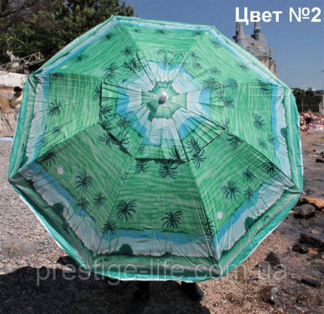 Зонт диаметром 2,4 м с клапаном. Пластиковые спицы. Серебренное покрытие. Пальмы, фон Зелёный