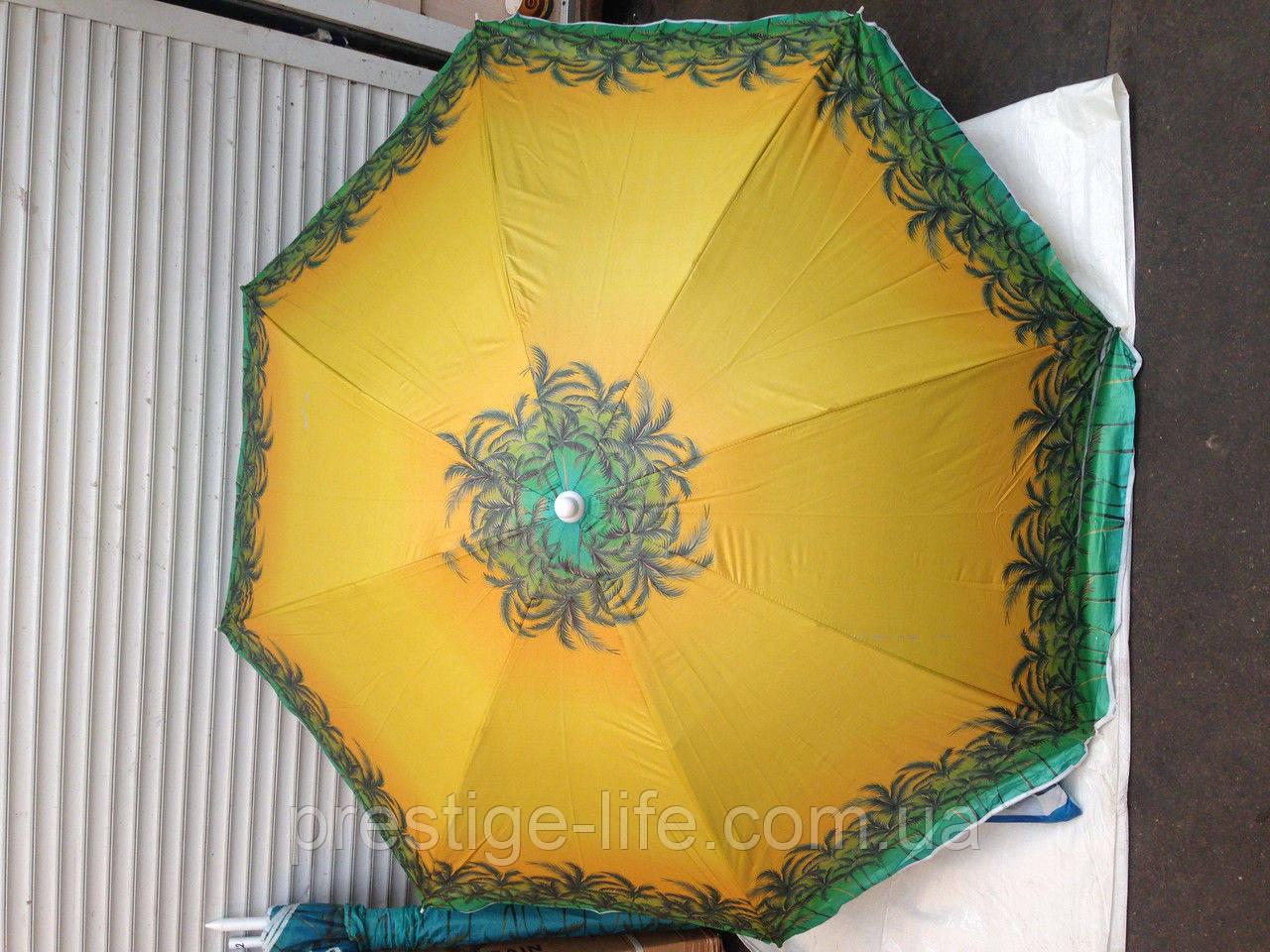 Зонт диаметром 2,4 м с клапаном. Пластиковые спицы. Серебренное покрытие. Пальмы, фон Жёлтый