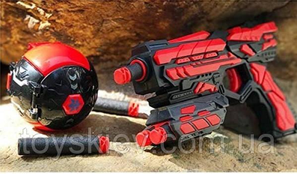 Игрушечное оружие FJ411. Детский пистолет с мишенью-шариком, стреляет мягкими пулями аналог Nerf