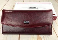 Женский кожаный клатч в коробке HORSE. Женский кошелек натуральная кожа. Бумажник оригинал. СК7-2, фото 1