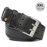 Ремень мужской кожаный батал длинный черный KB-45 XXL (150 см)