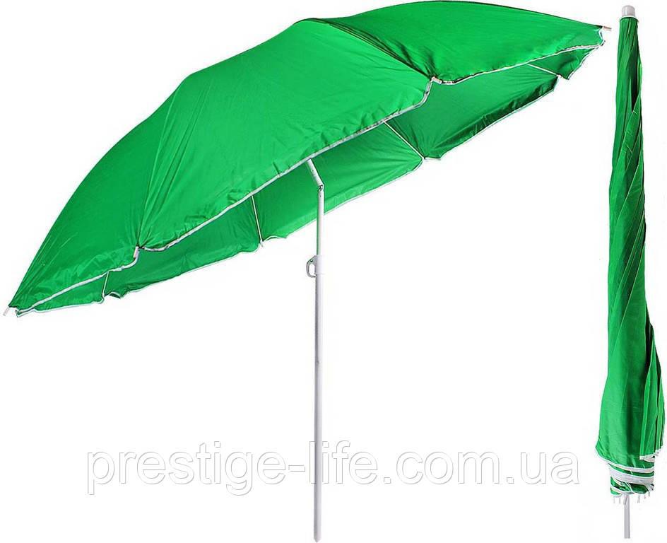Зонт диаметром 2,4 м с клапаном. Пластиковые спицы. Серебренное покрытие. Зелёный