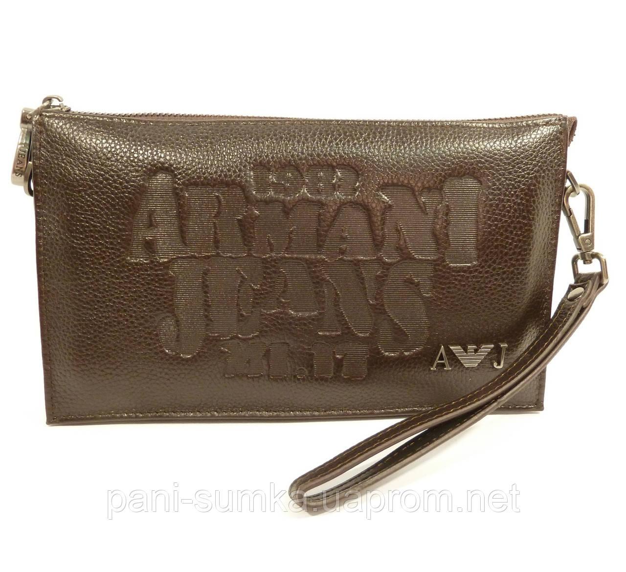 88ce71b29f60 Клатч мужской кожаный Armani Jeans 921-1 коричневый, сумка мужская, фото 1