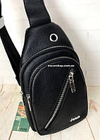 Мужская сумка на одно плечо. Кожаная нагрудная сумка Jeep. Мужская плечевая сумка бананка.  РБ1