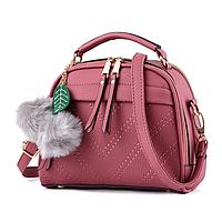 Небольшая женская сумка через плечо с ручкой. Розовая КC58-2