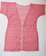 Детская пляжная накидка туника халатиком для девочек Розовый