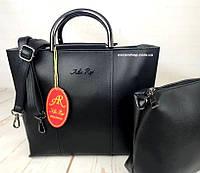 Женская сумка с металлическими ручками Alex Rai трапеция. Набор сумок 2 в 1 Алекс Рэй. СС4