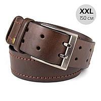 Ремень мужской кожаный батал коричневый KB-45 (XXL) (150 см)