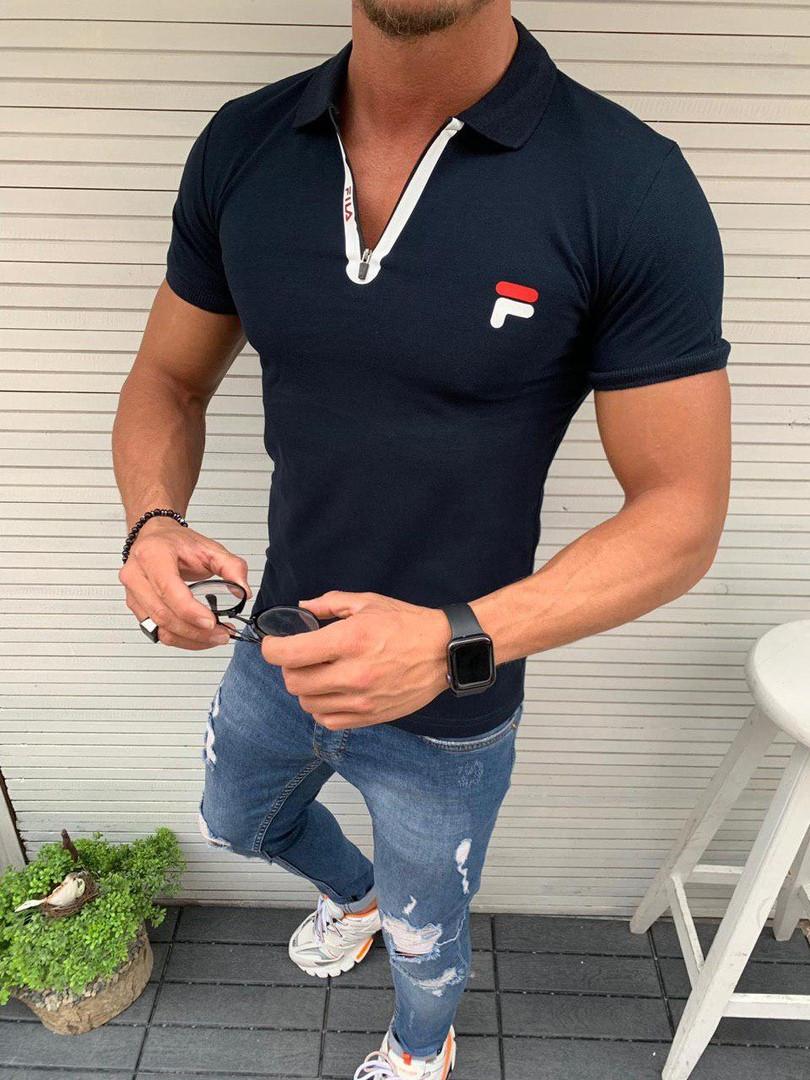 Мужская футболка поло Fila синяя Живое фото. Топ качество