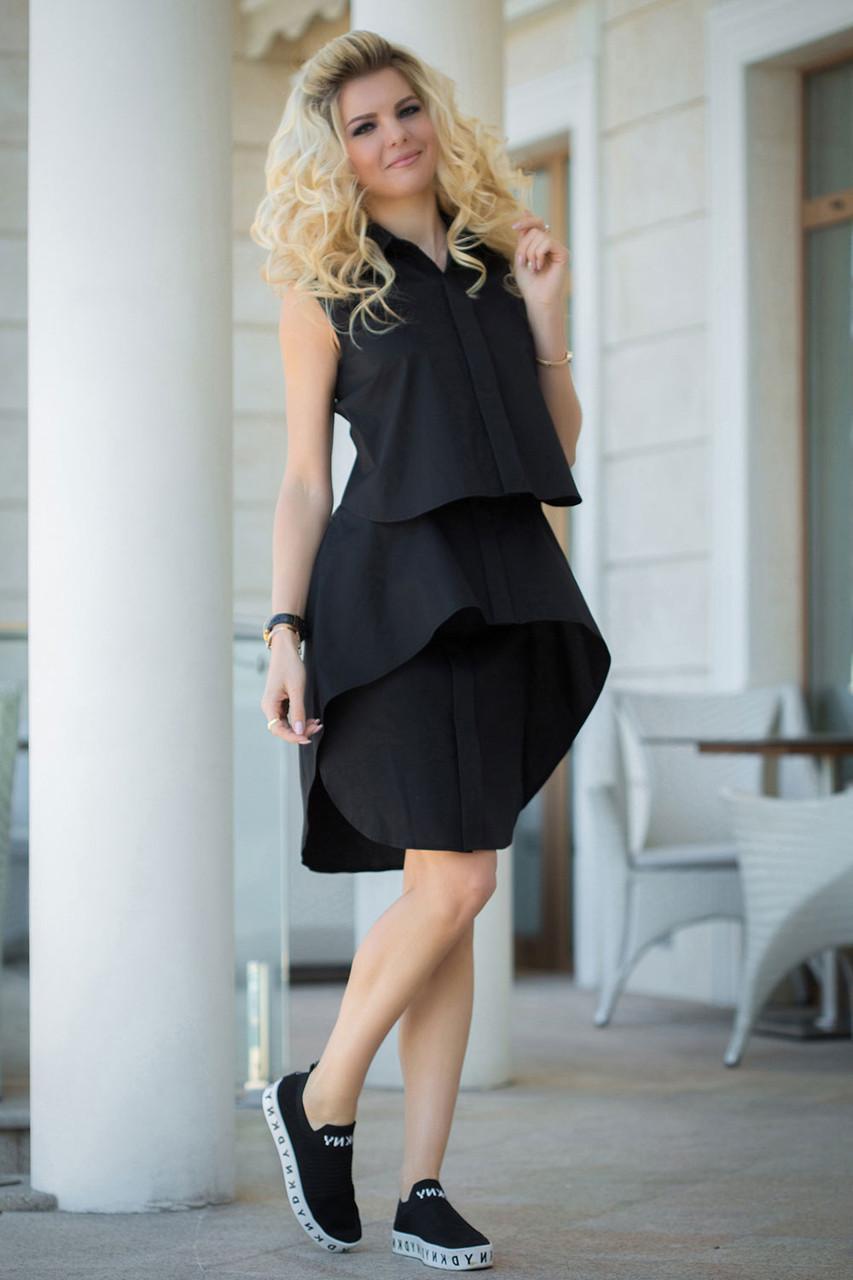 Черное Платье-рубашка ярусами