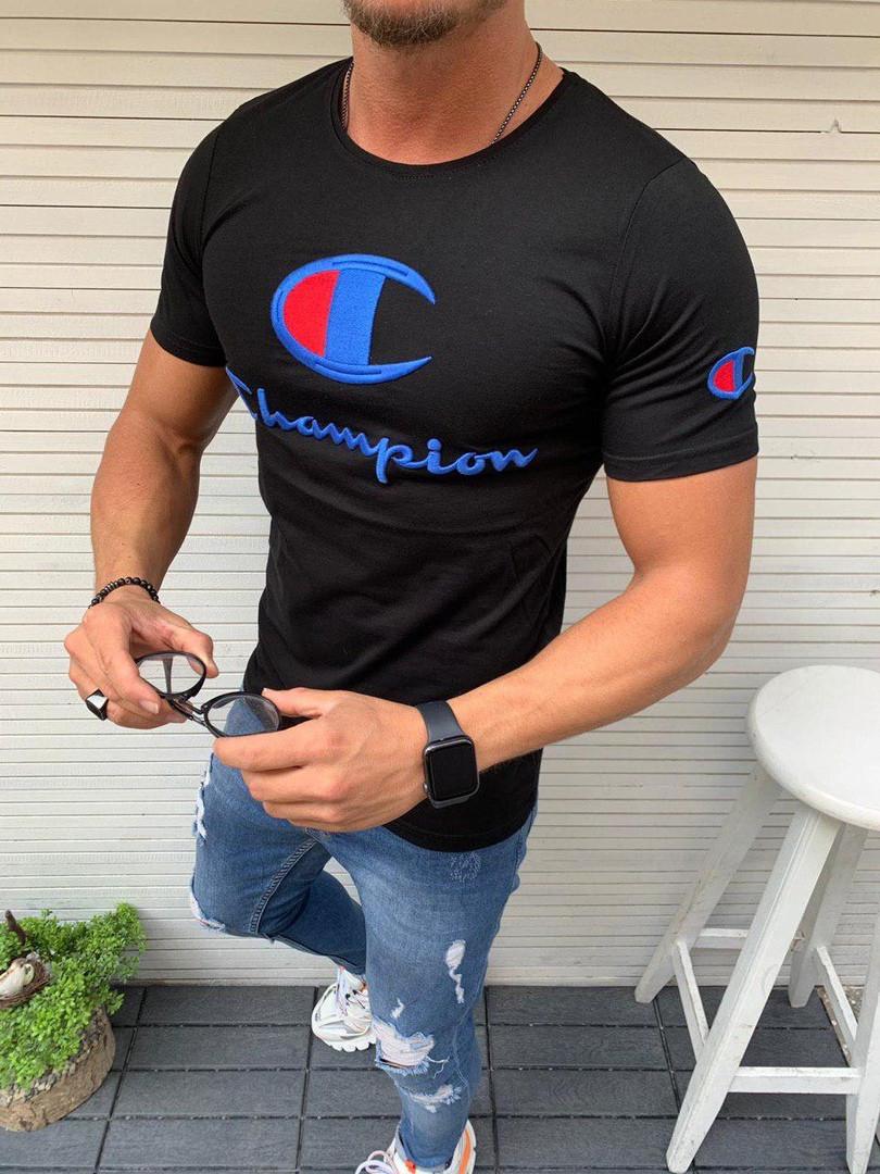 Мужская футболка Champion черная с вышитым лого. Живое фото. Топ качество