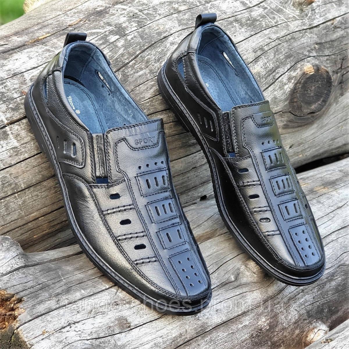 35bdfbfdcc89 Купить Мужские летние открытые туфли черные кожаные повседневные без  шнурков в ...