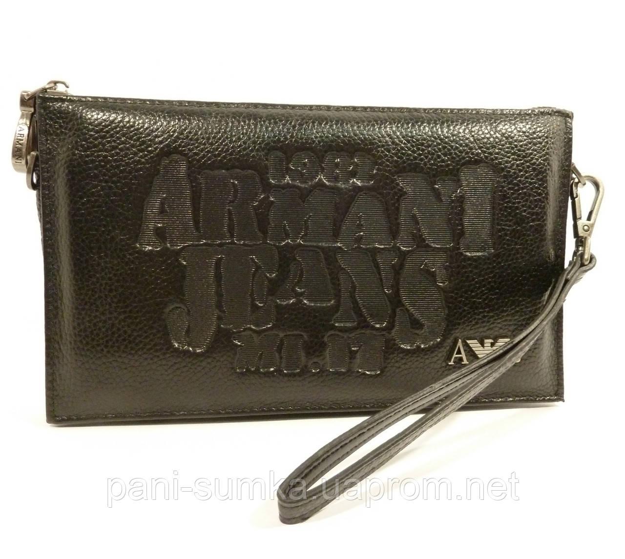 ee99abae2f12 Клатч мужской кожаный Armani Jeans 921-1 черный, сумка мужская - Интернет  магазин