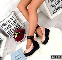 Туфлі жіночі шкіряні на платформі з плетеними мотузкою пудра