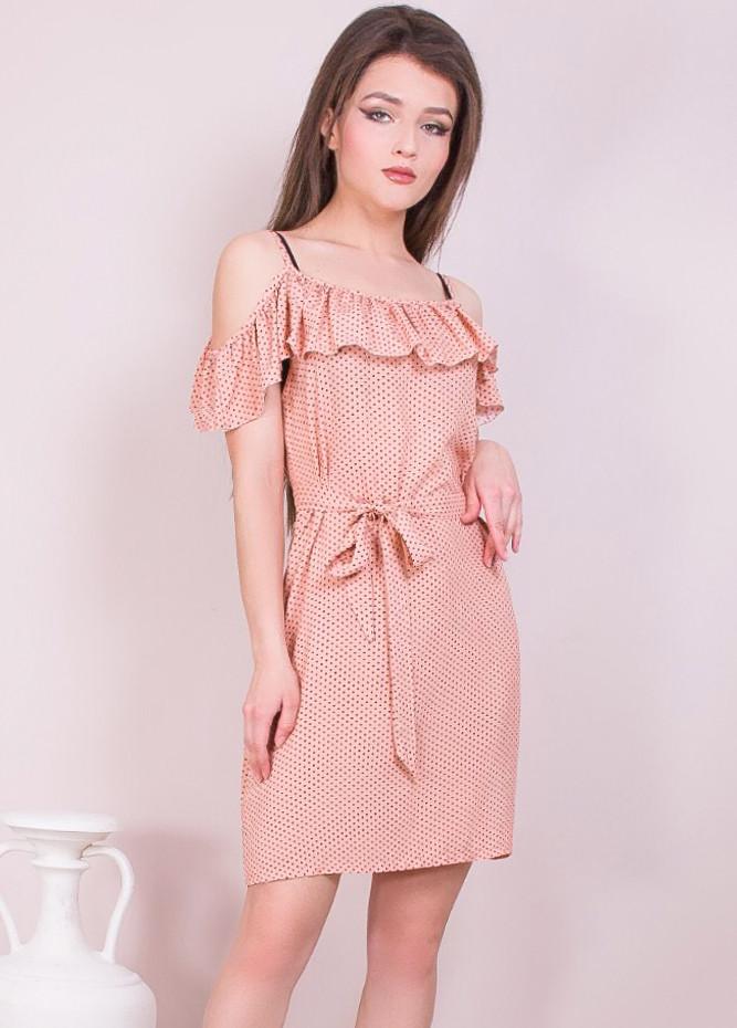 Летнее платье в мелкий горошек 42-48