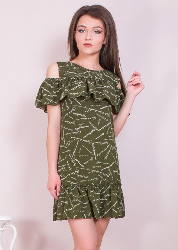 Красивое платье с рюшами и надписями 42-48 (в расцветках)