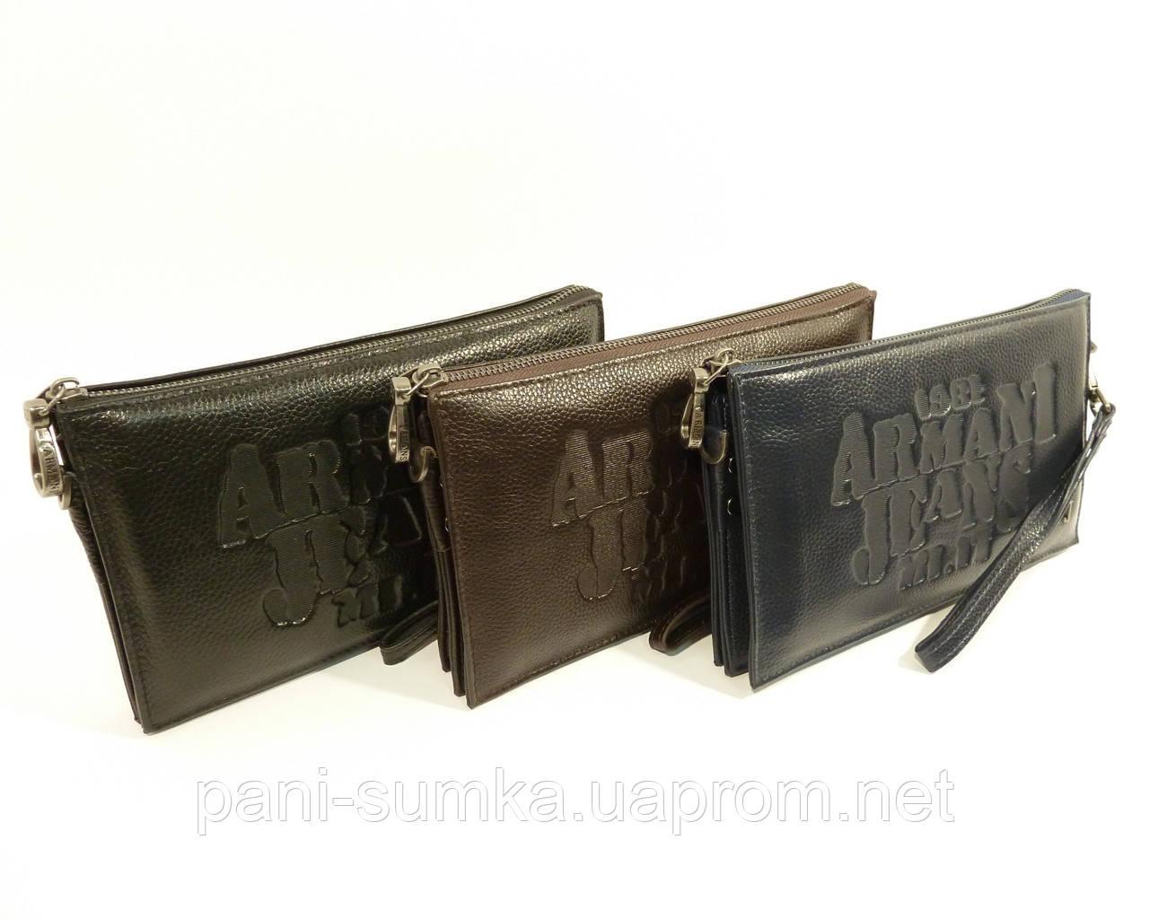 Клатч чоловічий середній шкіряний Armani Jeans 921-2 чорний, сумка чоловіча