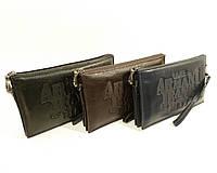 Клатч мужской средний кожаный Armani Jeans 921-2 черный, сумка мужская